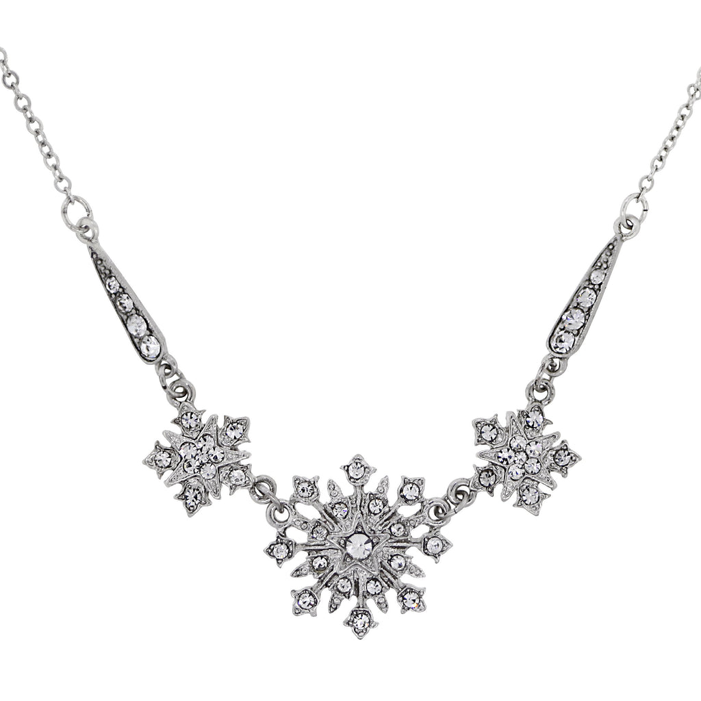 SILVER-TONE CRYSTAL BELLE EPOCH STARBURST STATEMENT NECKLACE 16 ADJ.-17533 - Blanche's Place