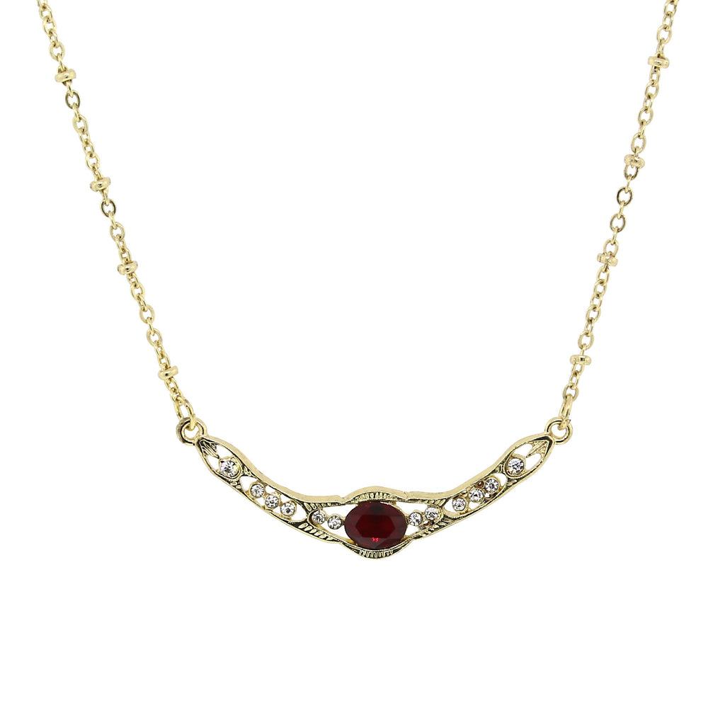 GOLD-TONE EDWARDIAN WITH RED CENTER STONE COLLAR NECKLACE 16 ADJ. - 17557 - Blanche's Place