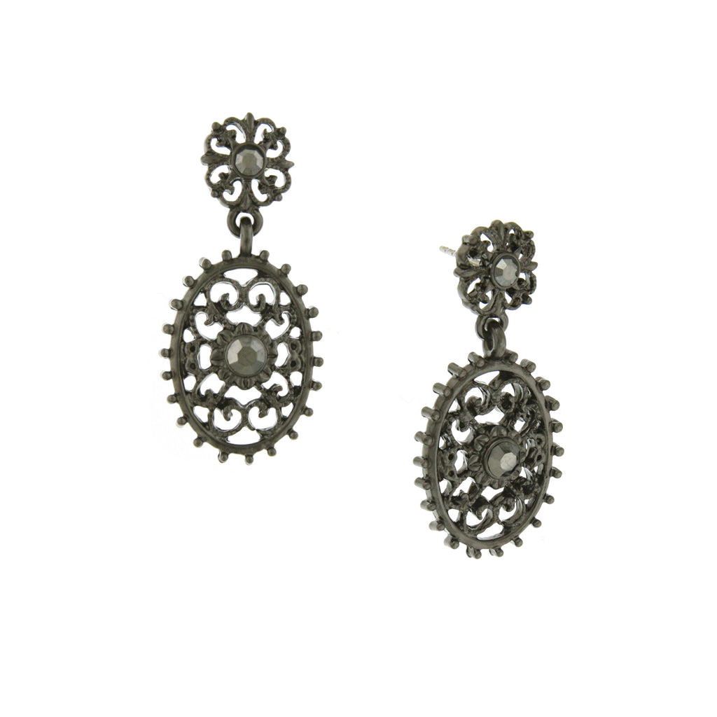 BLACK-TONE FILIGREE OVAL WITH AESTHETIC BEADED EDGE DETAIL DANGLE EARRINGS-17574 - Blanche's Place
