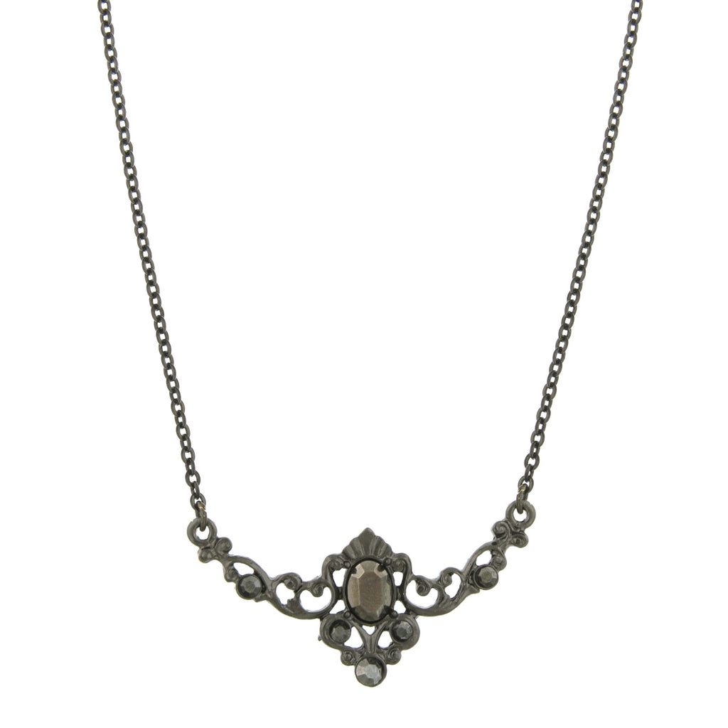 Elegant Black Toned Belle Epoch Hematite Necklace from Downton Abbey Collection -17580 - Blanche's Place