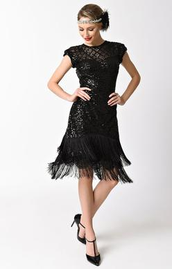 1920's Vintage Inspired Sequin and Fringe Cocktail Dress-Del Mar - Blanche's Place