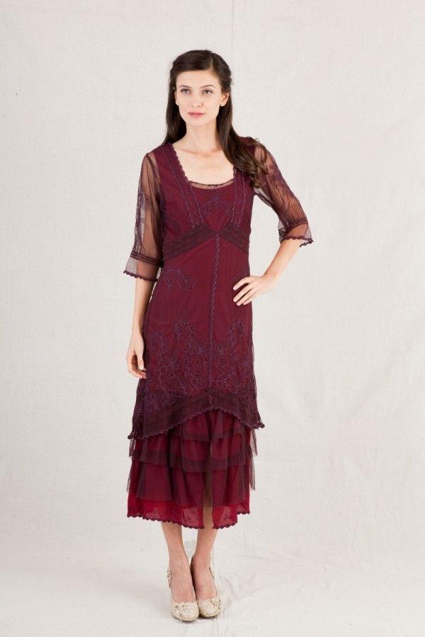 Nataya Burgundy Vintage INspired Dress-AL2101 XL - Blanche's Place
