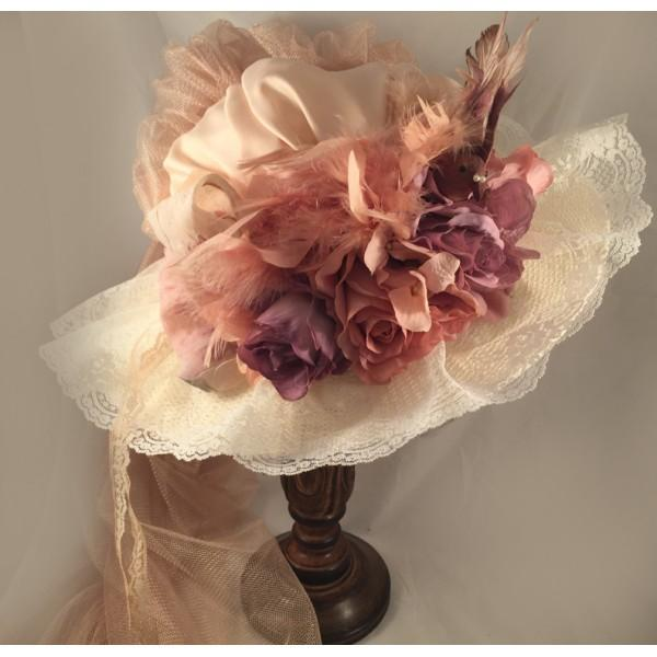 ANTIQUE TOURING HAT WITH FRENCH LAVENDER-40016 - Blanche's Place