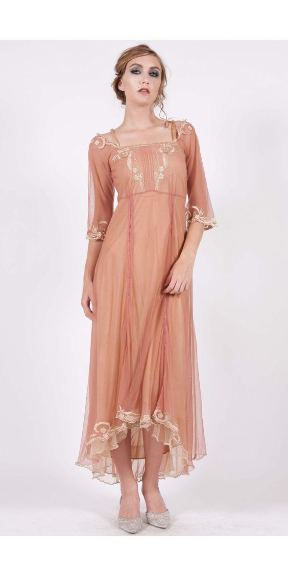 Nataya Vintage Inspired Rose/Gold Dress-1x and XL - Blanche's Place