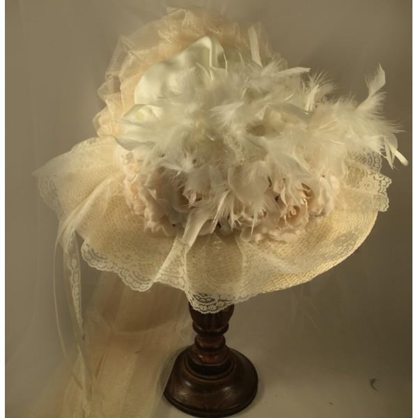 Ivory Victorian Hat-506 - Blanche's Place