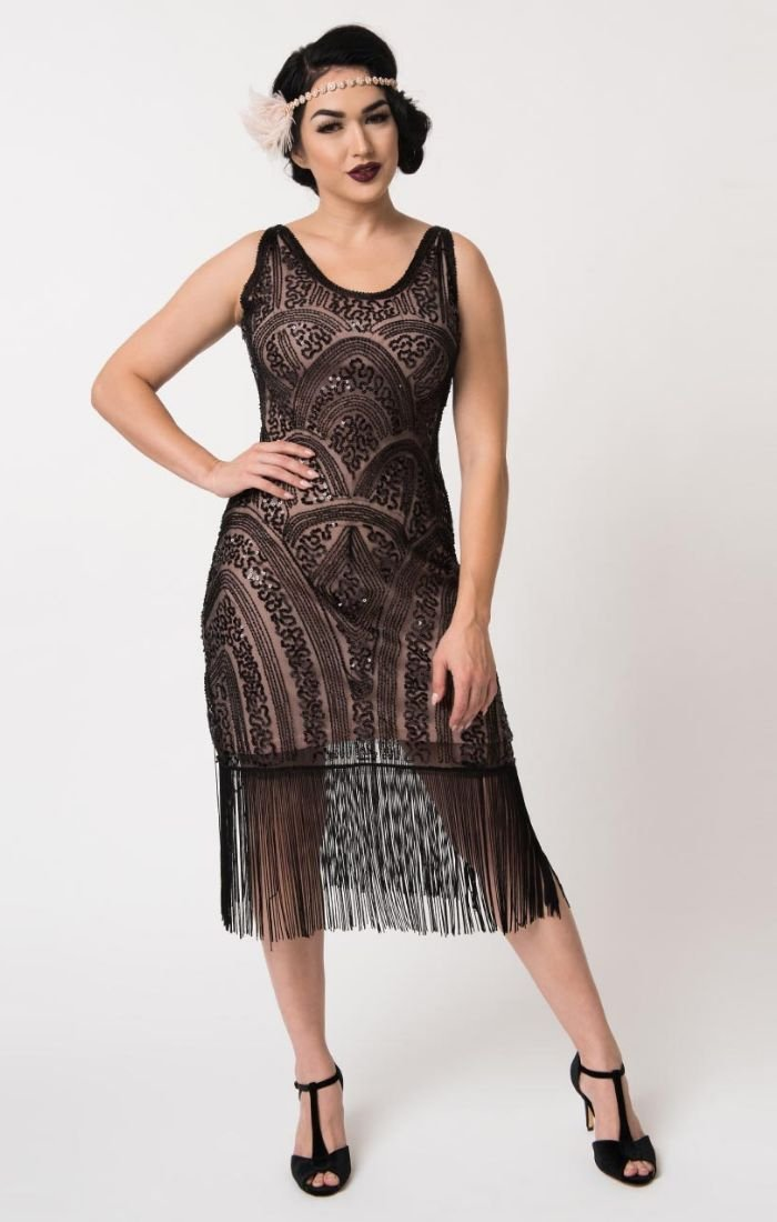 1920's Vnitage Inspired Beaded Flapper Dress with Fringe-Emilienne - Blanche's Place