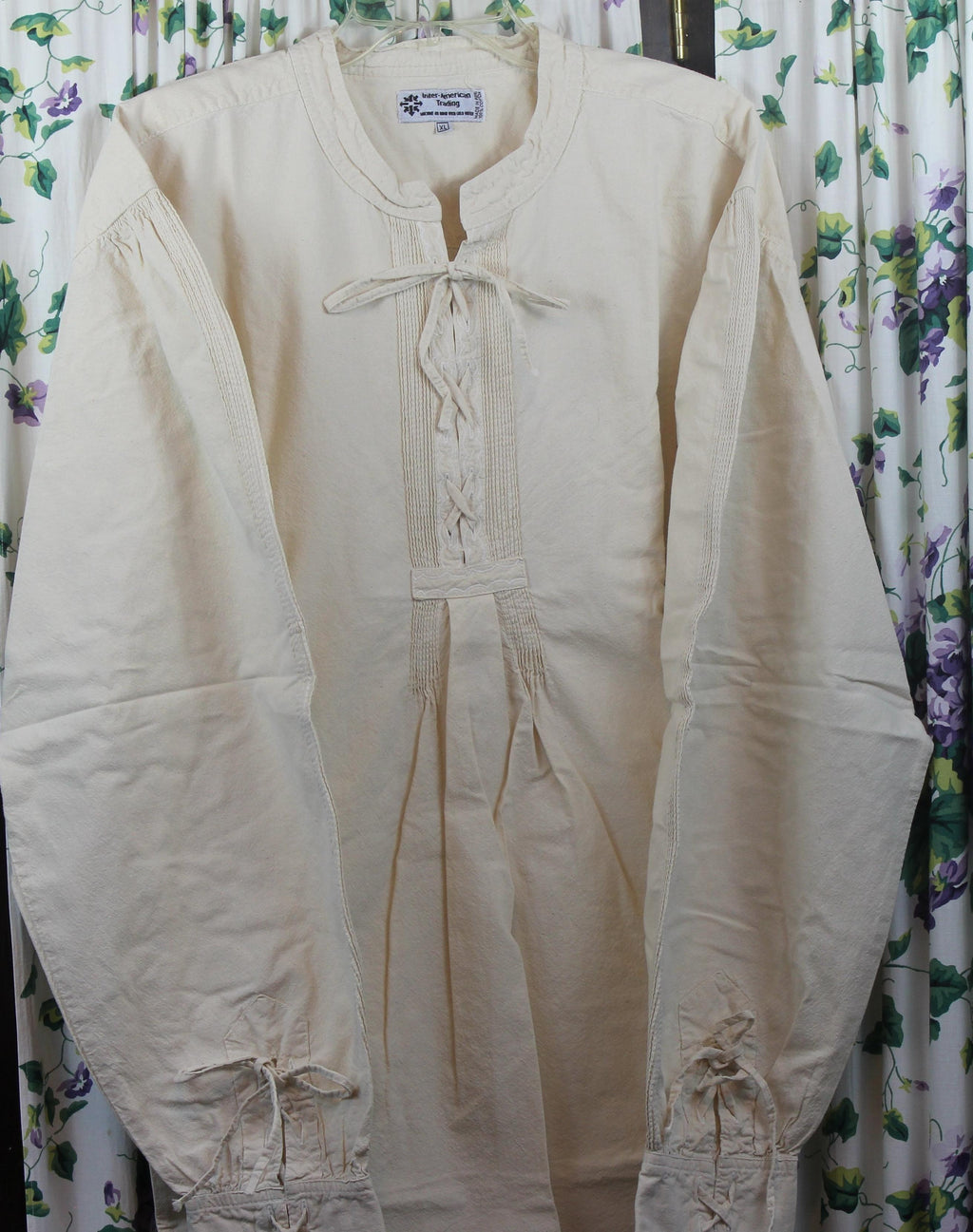 Mens Cotton Early Frontier Shirt With Lace Front and Lace Cuffs - Blanche's Place