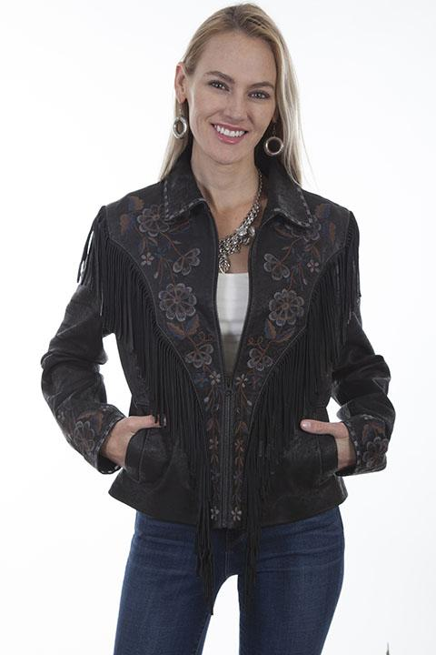 Womens Leather Western Fringe Jacket with Embroidery-L1005 - Blanche's Place