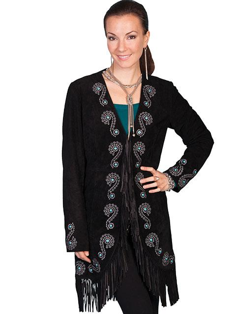 Ladies Long Leather Western Fringe Suede Coat with Turqoise Stud Accents-L165 - Blanche's Place