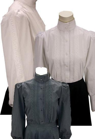 Grace Victorian Blouse With Lace Trim-CL441 - Blanche's Place