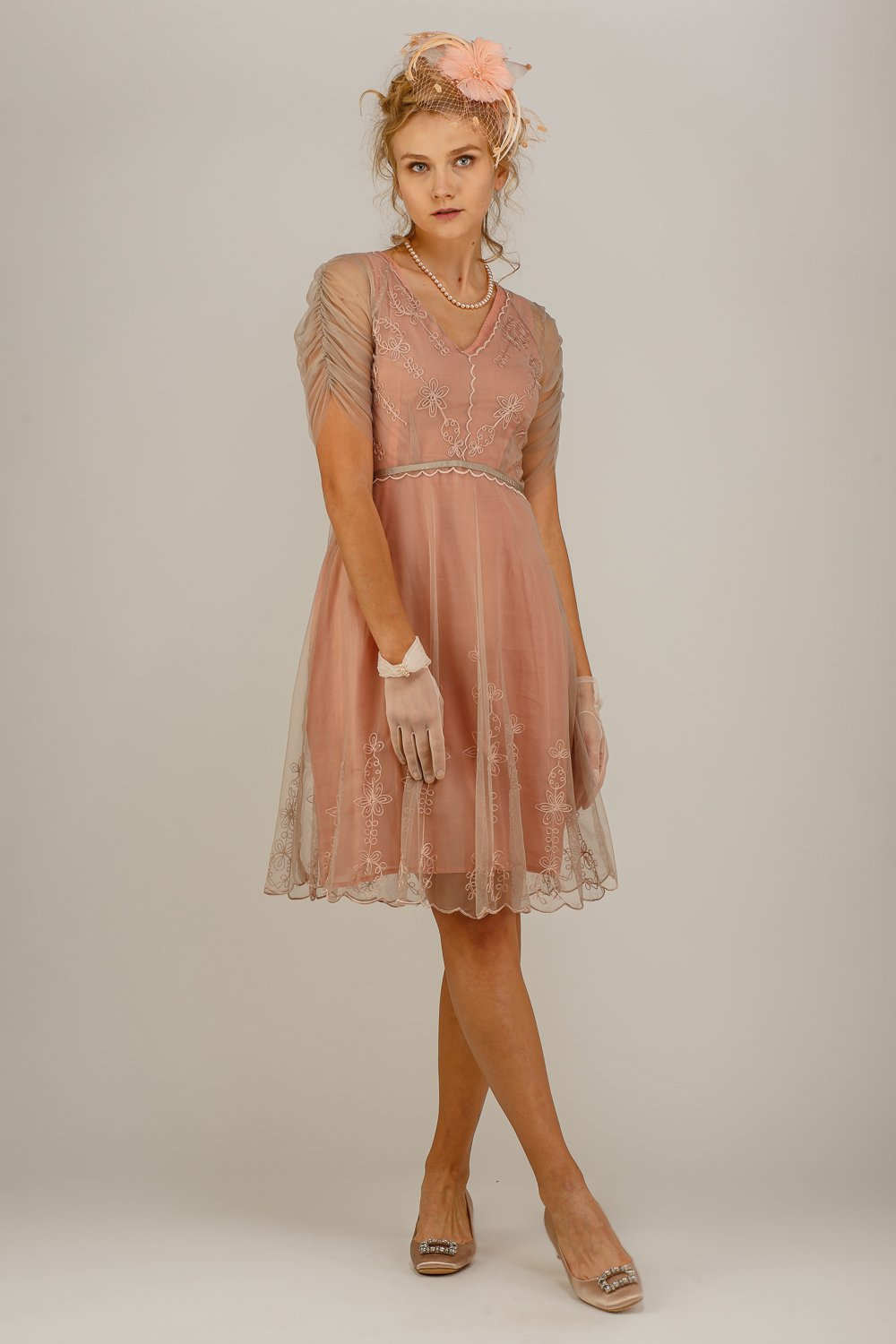 Nataya 1920's Vintage Inspired Mauve Dress-AL251 - Blanche's Place