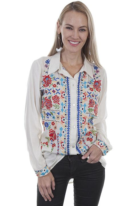 Western Peasant Blouse with Folk Embroidery-HC418 - Blanche's Place