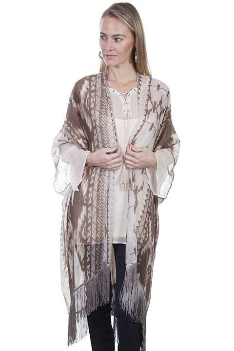 Ladies Light Weight Aztec Inspired Kimono-HC317 - Blanche's Place