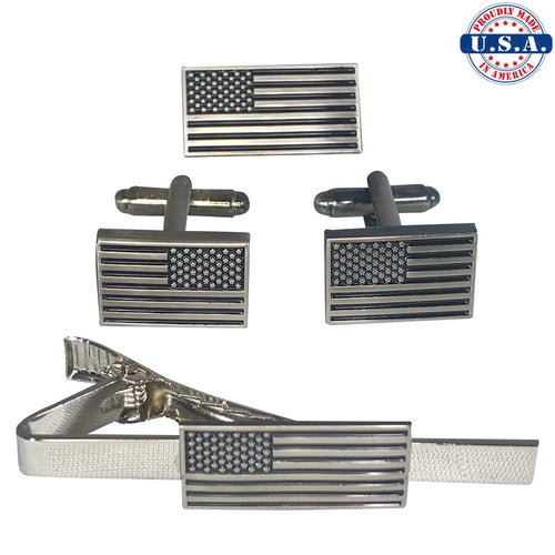 Subdued American Flag Cufflinks, Tie-Clip, and Lapel Pin Set (Set Discount)