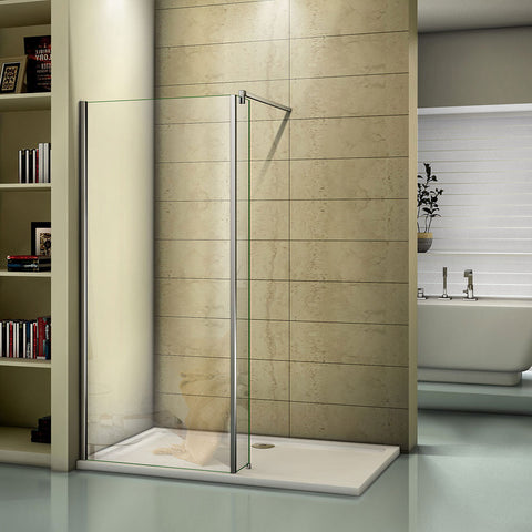 700-1400mmx1950 Chrome Walk in 8mm EasyClean shower screen,250|300mm side panel