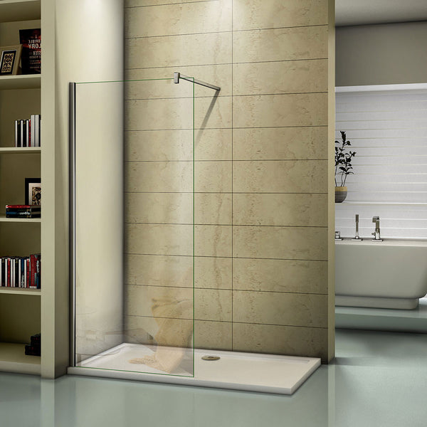 1000-1400mm Chrome 8mm EasyClean Walk In Shower Screen with Tray,1950mm Height