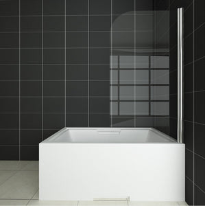 800X1500mm Chrome 180 degrees Pivot Shower Bath Screen Easy Clean Glass