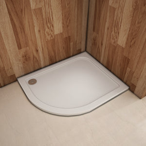30mm Height Offset Quadrant Walk in Shower Enclosure Stone Tray Left Side