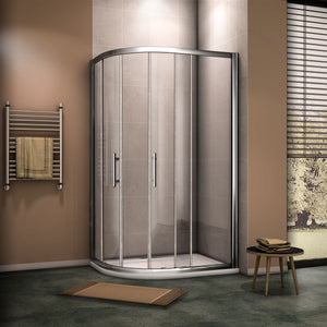 8mm NANO Glass Chrome Offset Quadrant Shower Enclosures Sliding door