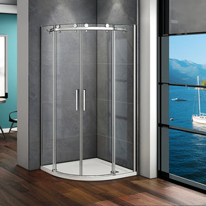 900x900x1950mm Frameless Quadrant Shower Enclosure Corner Cubicle Big Rollers