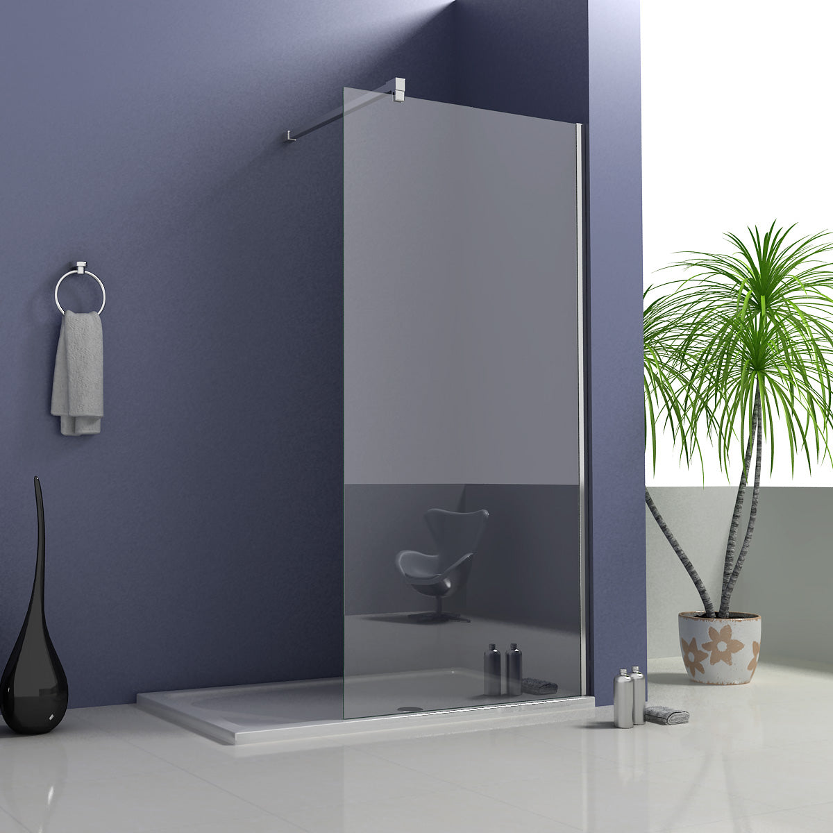 700-1400x1950mm Walk in Wet Room Shower screen,8mm NANO glass