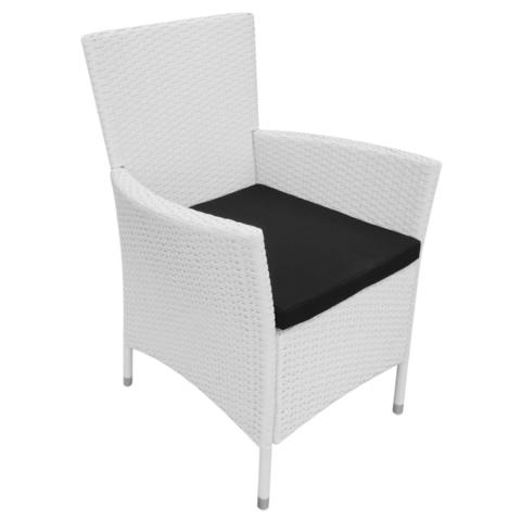 GARDEN DINING CHAIRS POLY RATTAN (6 PCS) - CREAM WHITE