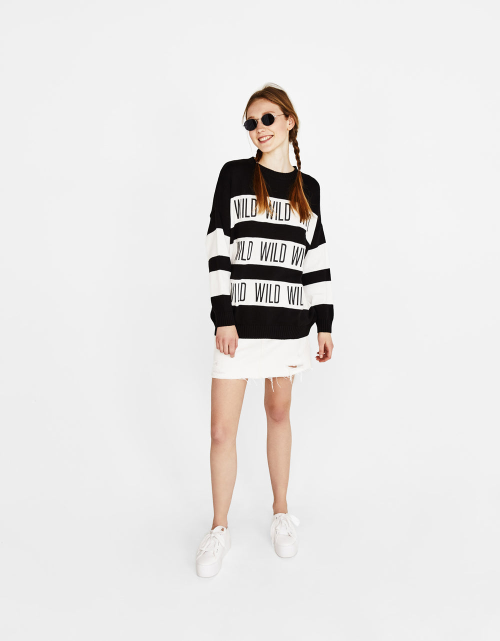 Striped print sweater