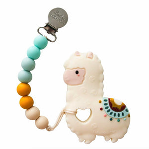 Llama silicone teether with holder set