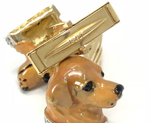 Golden Retriever 18kt Gold, Polychrome Enamels, Diamond Cufflinks