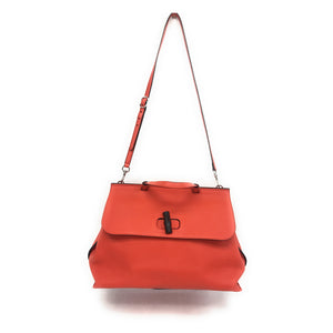 Gucci Orange Leather Bamboo Daily Handbag