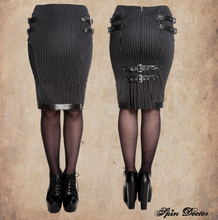 Load image into Gallery viewer, Octavia pinstripe steampunk gothic kick pleat pencil skirt