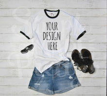 Load image into Gallery viewer, Black and white women's ringer tee denim shorts fringe sandals mock photo stock photo ideas. Your design here flat lay mockup product t-shirt photo for sale. SVG files, upload your image here