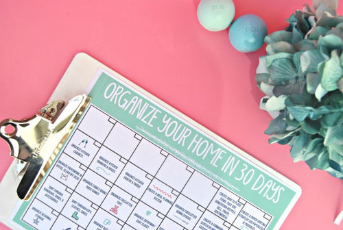 Organize Your Home in 30 Days Calendar Cheat Sheet - PDF