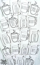 Load image into Gallery viewer, Rae Dunn Mug Inspired Farmhouse Printable Greeting Cards (25 Total Cards)- PDF