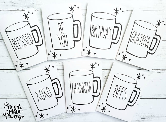 Rae Dunn Mug Inspired Farmhouse Printable Greeting Cards (25 Total Cards)- PDF