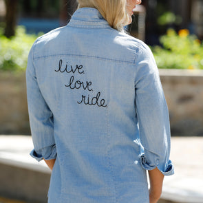 Live Love Ride Denim Top
