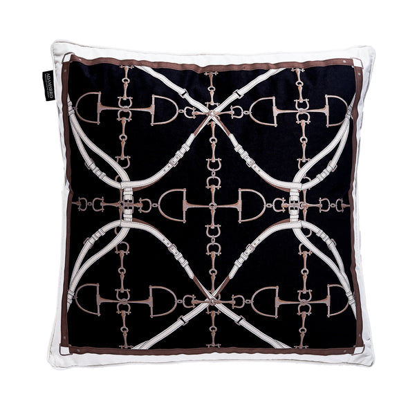 Luxury Velvet Bit Pillow Black