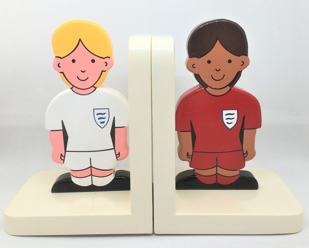 Girl footballers wooden bookends