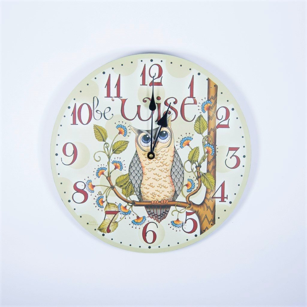 children's wise old owl wall clock