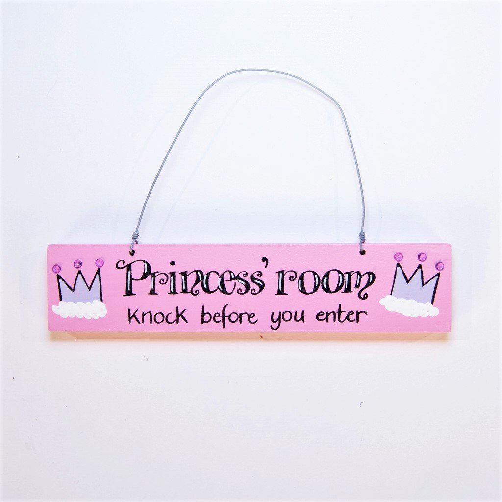 children's pink princess room door plaque