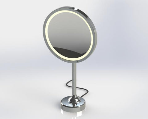 Chrome lighted magnifying mirror
