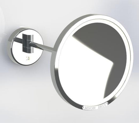 Brot REFLET C24 Single Arm Illuminated Mirror, 9 1/2 Inch Diameter, Extends 11 1/2 Inches from Wall