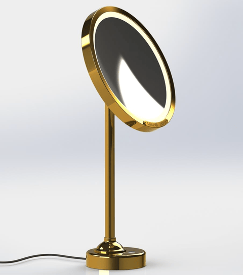 Copper colored lighted mirror