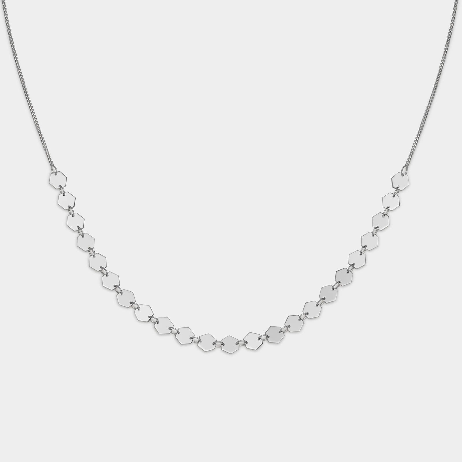 CLUSE Essentielle Silver All Hexagons Choker Necklace CLJ22003 - halskette