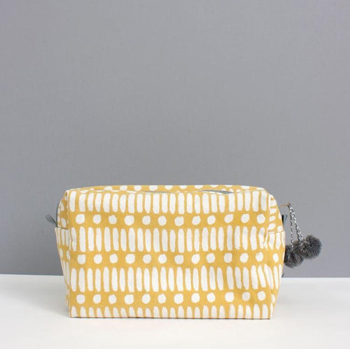 Ochre Dot Dash Canvas Washbag
