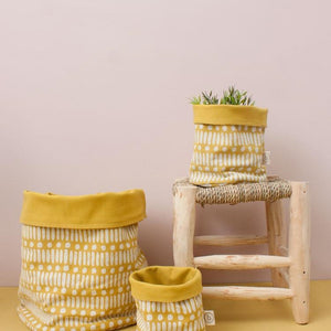 Ochre Dot Dash Canvas Storage Pot