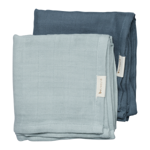 Set of 2 Blue/Spruce Muslin Cloths