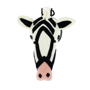 Felted Wool Zebra Head Wall Decoration
