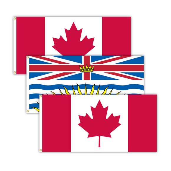 This bundle features 2x Canadian flags and 1x British Columbia flag.