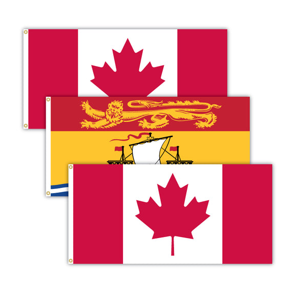This bundle features 2x Canadian flags and 1x New Brunswick flag.